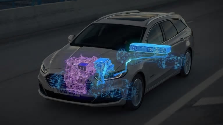Ford Mondeo diagram showing diagram of hybrid technology
