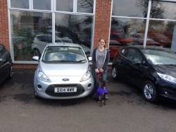 A Happy Miss Emms Picking Up Her Ford Ka From Brian At Hodsons